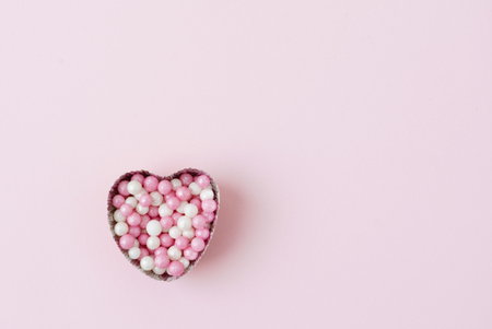 sugar hearts on the pink background Stock Photo