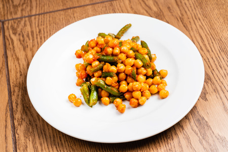 chickpea with green beans Stock Photo