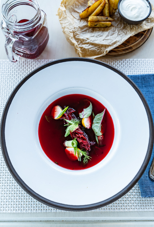 Cold summer soup. Beetroot soup - Image Stock Photo