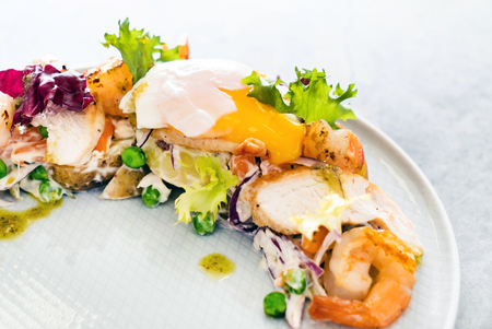 salad with grilled chicken and shrimps