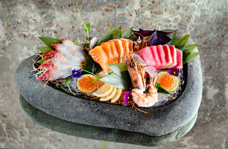 japanese foods sashimi (raw sliced fish, shellfish or crustaceans) - Image