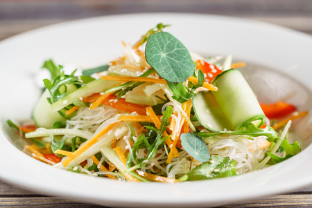 fresh spring salad with fresh vegetables and leaves