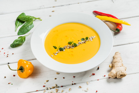 cream soup with seeds Stock Photo