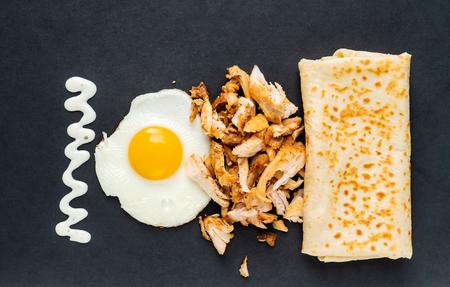 pancake stuffed chiken, egg and mayonnaise