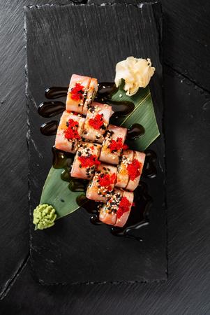 sushi on the black background  - Image Stock Photo - 115205364