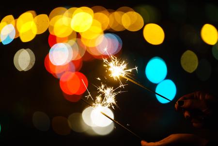 holiday sparkler  on the black background 写真素材