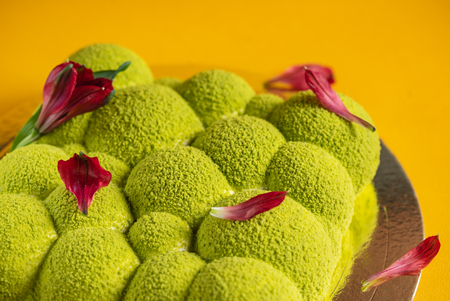 creative cake with flowe petals