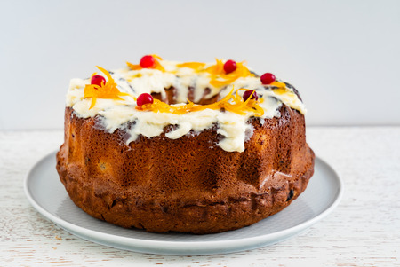Easter cake with cherrries and orange zest Stock Photo