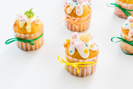 Easter cupcakes with colorful meringue