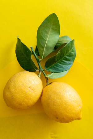 Fresh ripe lemons with leaves on the yellow Stock Photo