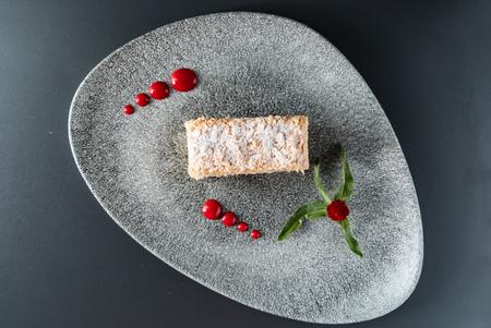 Napoleon cake with vanilla cream Archivio Fotografico - 117173062