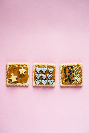 Delicious Toast with peanut butter on the pink