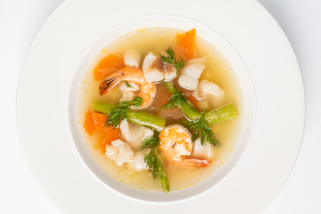 Seafood soup isolated on the white