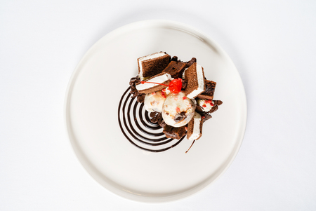 Creative dessert with ice cream and brownie