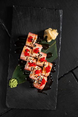 Sushi set on the black