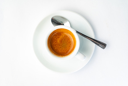 espresso coffee on the white background, top view