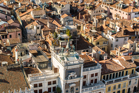An aerial view of the roofs of the town of Venice in Italy