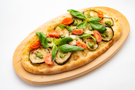 vegan pizza with roasted vegetables
