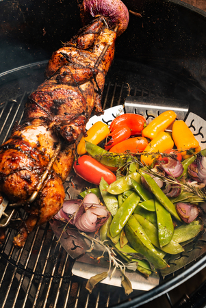 grilled chickens with vegetables