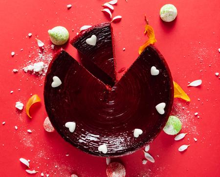 cake for Woman's Day. Red Velvet Cake Stock Photo - 118738613
