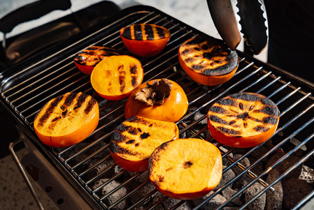 grilled persimmons closeup