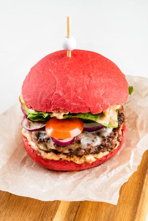 burger with red bun