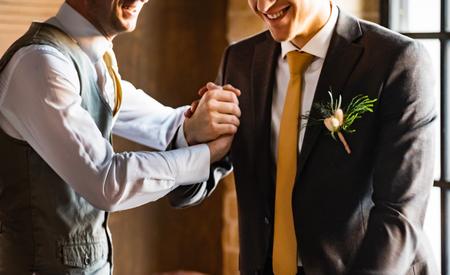 Wedding portrait groomsmen and groom, suit, adult,
