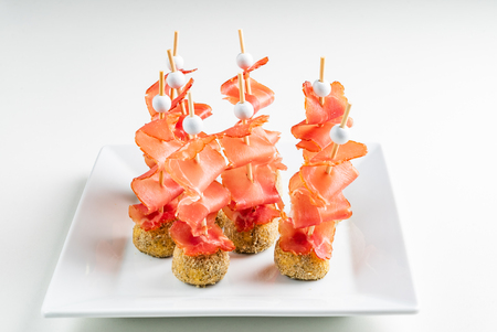 catering snacks with jamon Stock Photo