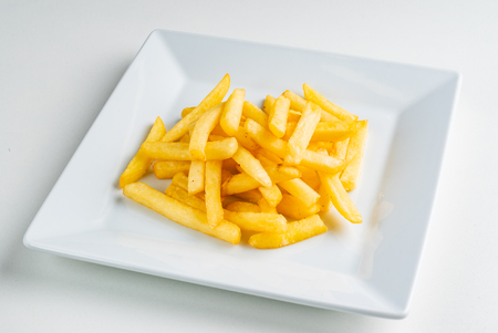 french fries on the white plate