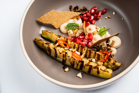 grilled zucchini with pomegranate seeds Stock Photo