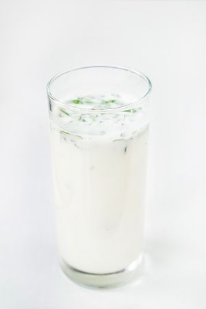 A glass of Ayran (Airan). Yogurt drinks are popular beyond the Middle East region