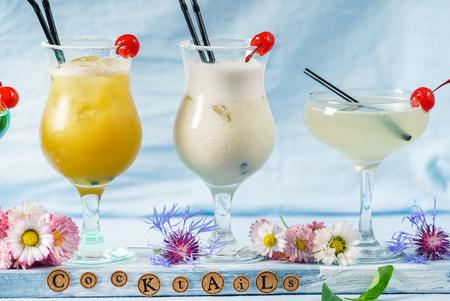 summer cocktails on the blue background