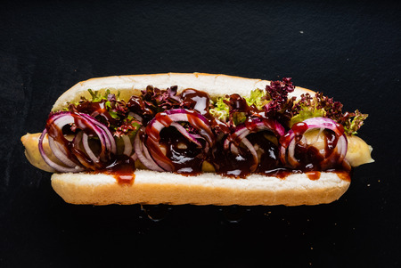 hot dog on the black background