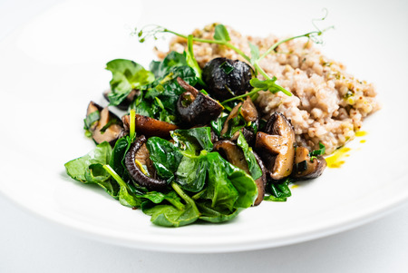 green buckwheat with mushrooms and spinach