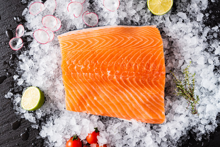 Raw salmon filet on the ice Stok Fotoğraf