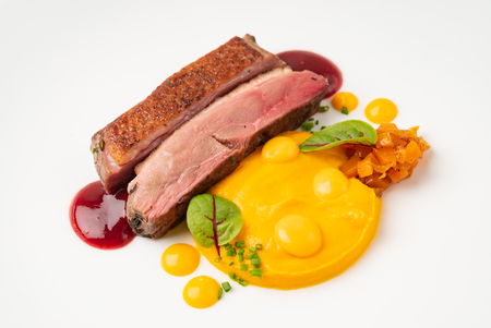 duck with sweet potato puree