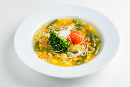 corn soup with vegetables and cheese Stock Photo - 120821681