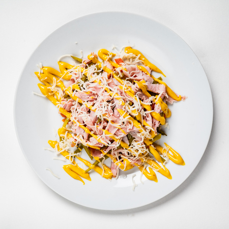 salad on the white plate Standard-Bild - 120821774