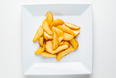 baked potatoes on the white plate Stock Photo