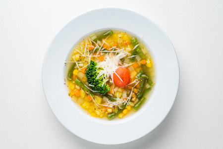 corn soup with vegetables and cheese