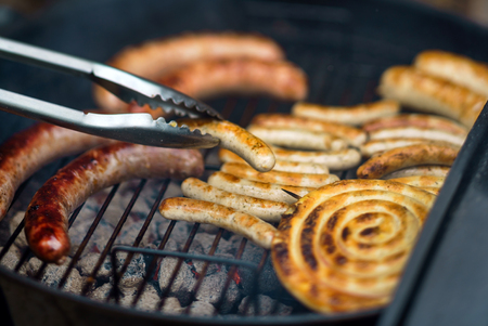 grilled sausages  on grill
