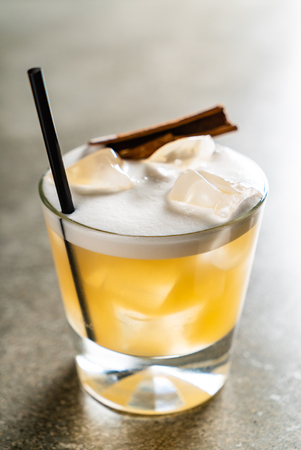 tasty alcoholic old fashioned cocktail in the bar