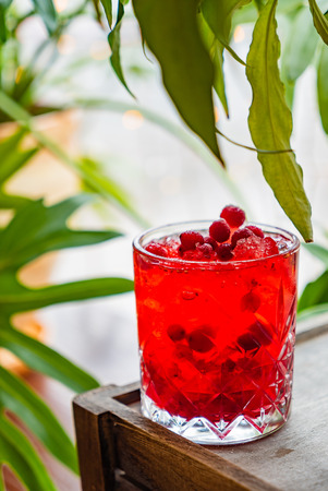 cranberry mocktail on the table