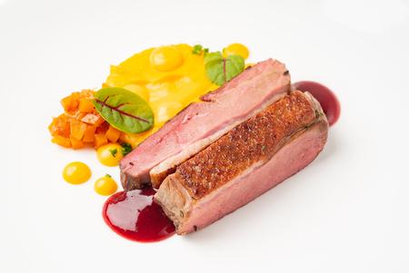 duck with sweet potato puree