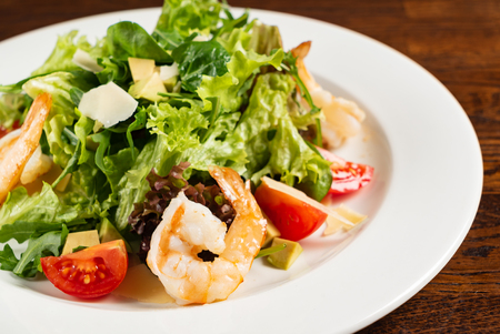 salad with shrimps and cheese Stock Photo