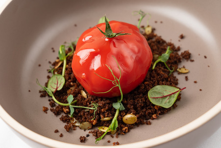 creative dish  with edible soil Stock Photo
