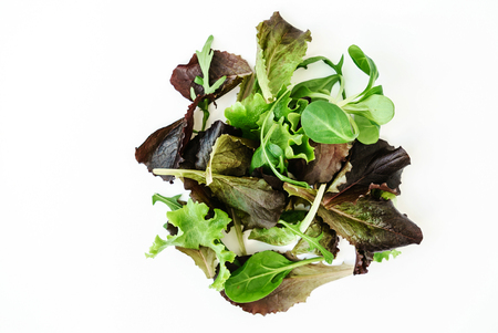 Salad leaves on the white