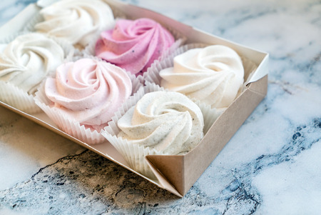 Beautiful delicious dessert. Zephyr in the shape of flowers roses.