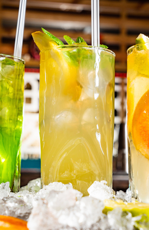 summer lemonades in the glasses Stockfoto