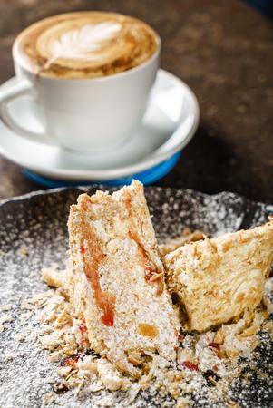 napoleon cake with caramel sauce Stock Photo